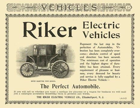 Διαφήμιση του 1896 για τα ηλεκτρικά αυτοκίνητα
